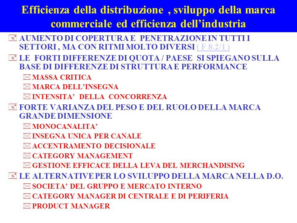 Efficienza della distribuzione , sviluppo della marca commerciale ed efficienza dell'industria