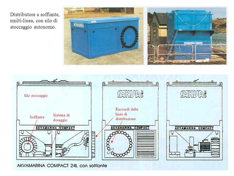 Distributore a soffiante, multi-linea, con silo di stoccaggio autonomo.
