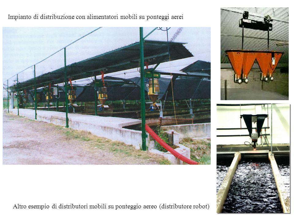 Impianto di distribuzione con alimentatori mobili su ponteggi aerei