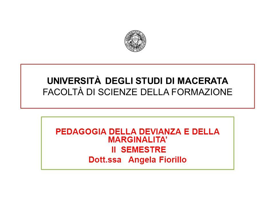 Università degli Studi di Macerata Facoltà di Scienze della formazione