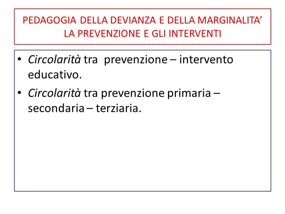 Circolarità tra prevenzione – intervento educativo.