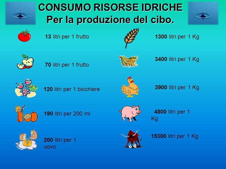 CONSUMO RISORSE IDRICHE Per la produzione del cibo.