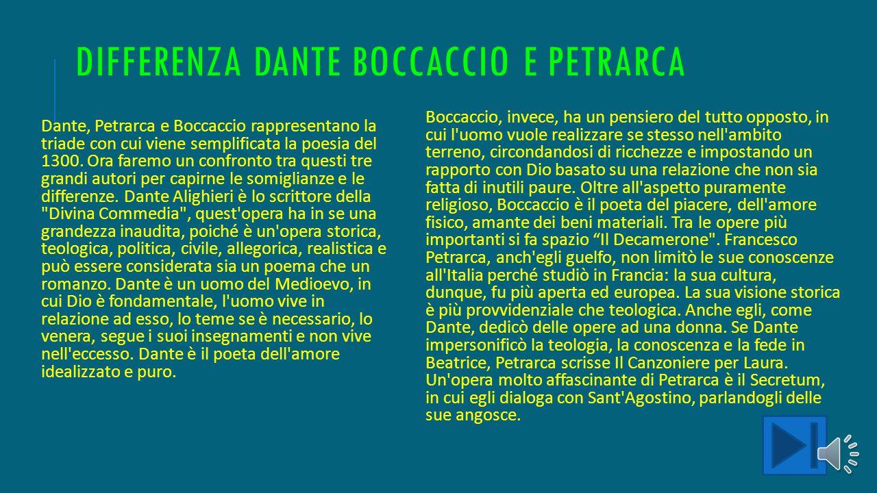 Differenza Dante Boccaccio e petrarca
