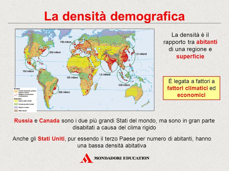 La densità demografica