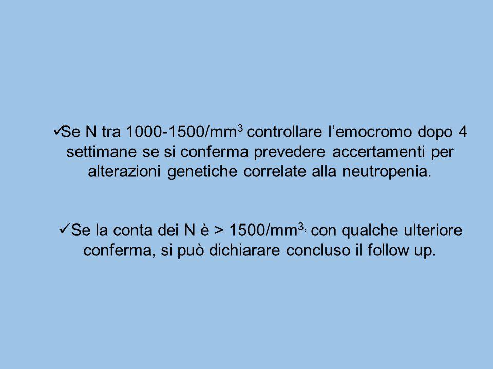 Se N tra 1000-1500/mm3 controllare l'emocromo dopo 4 settimane se si conferma prevedere accertamenti per alterazioni genetiche correlate alla neutropenia.