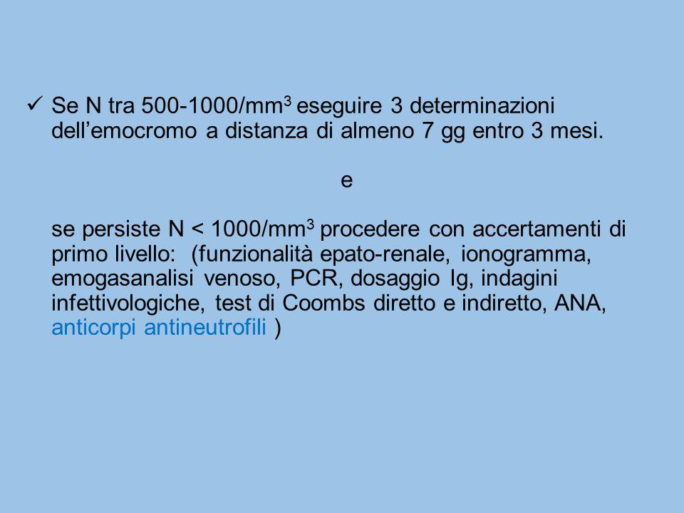 Se N tra 500-1000/mm3 eseguire 3 determinazioni dell'emocromo a distanza di almeno 7 gg entro 3 mesi.