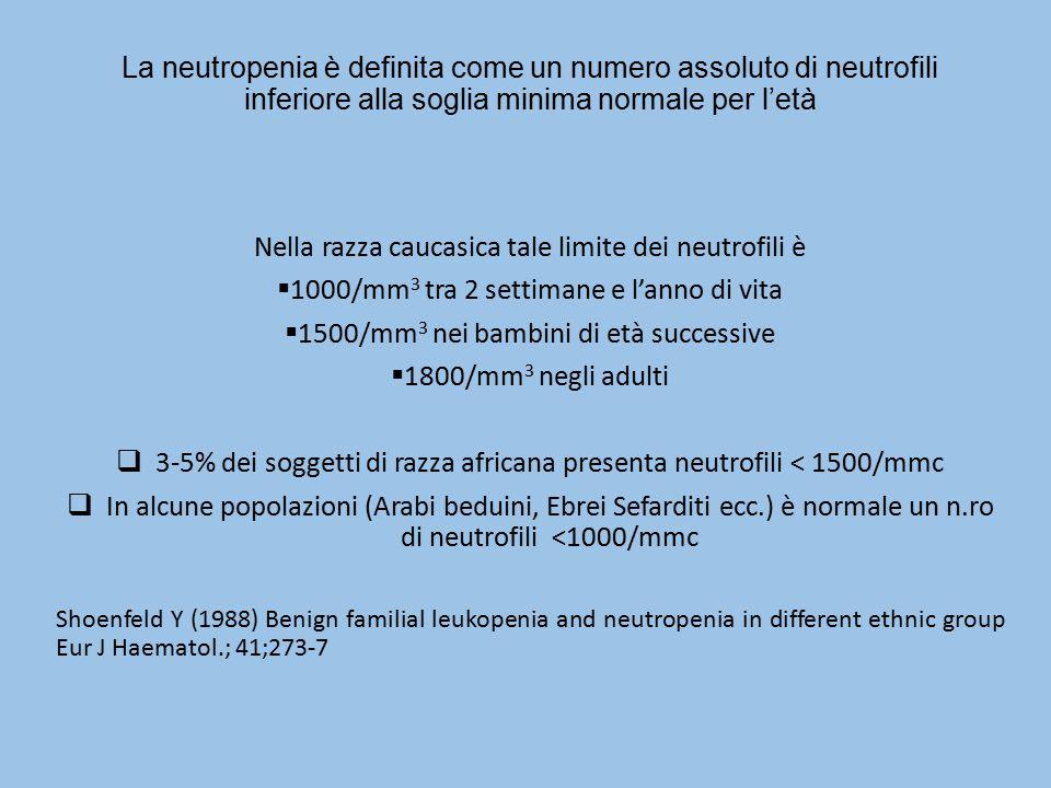 Nella razza caucasica tale limite dei neutrofili è
