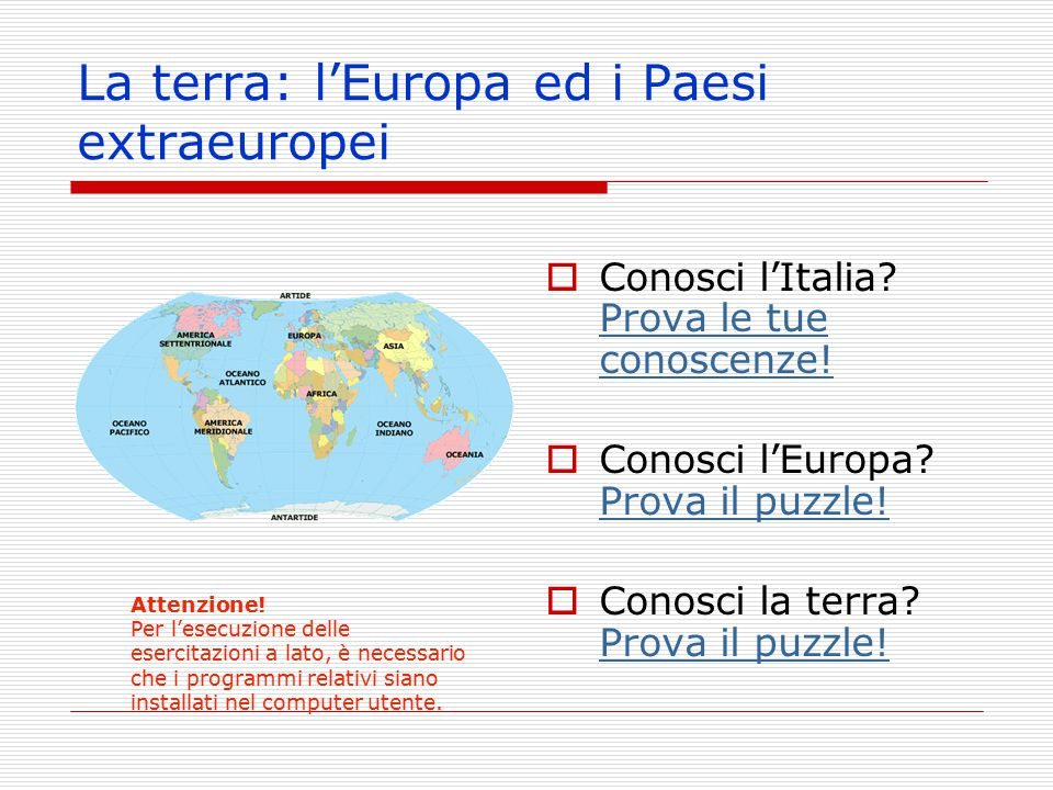 La terra: l'Europa ed i Paesi extraeuropei