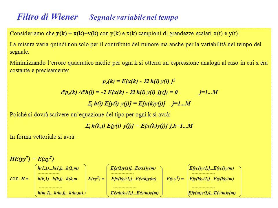 Filtro di Wiener Segnale variabile nel tempo