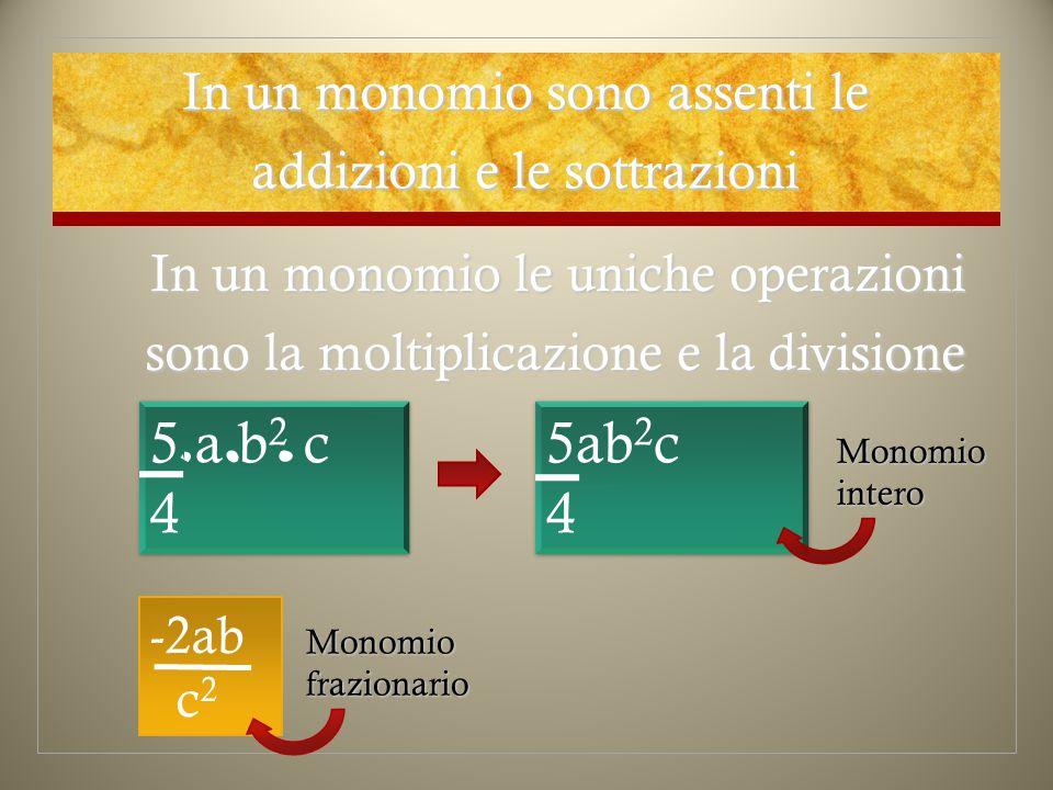 In un monomio sono assenti le addizioni e le sottrazioni