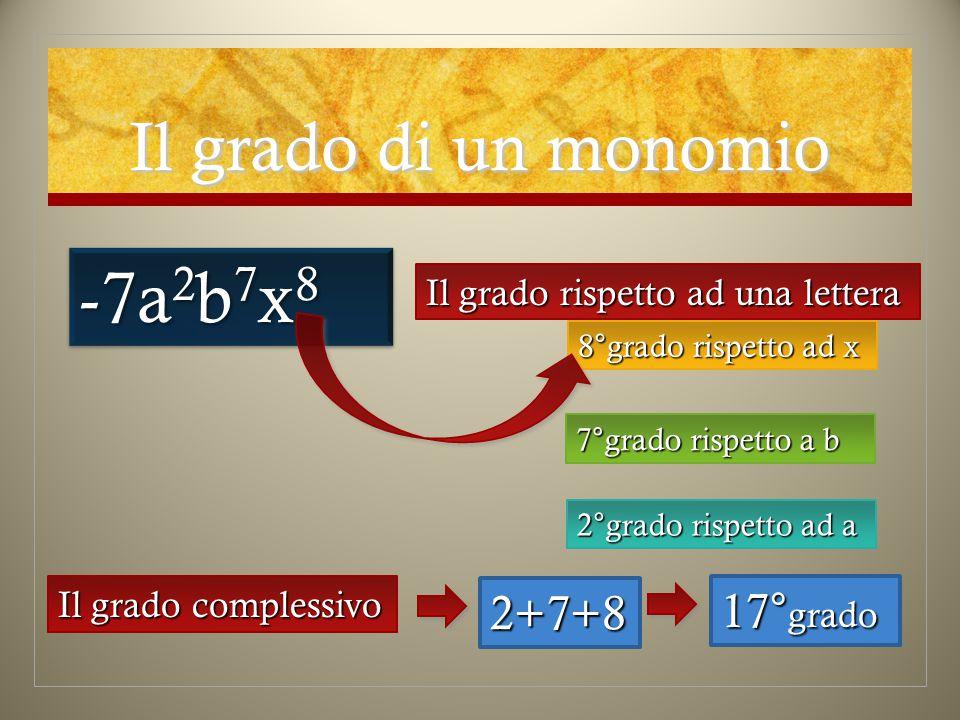 -7a2b7x8 Il grado di un monomio 2+7+8 17°grado