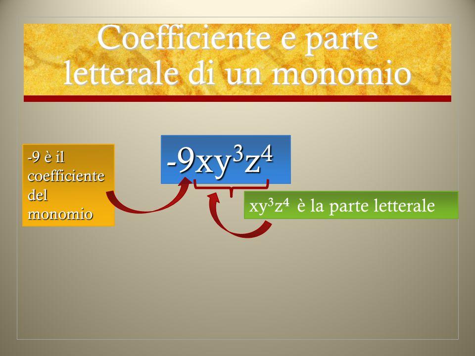 Coefficiente e parte letterale di un monomio