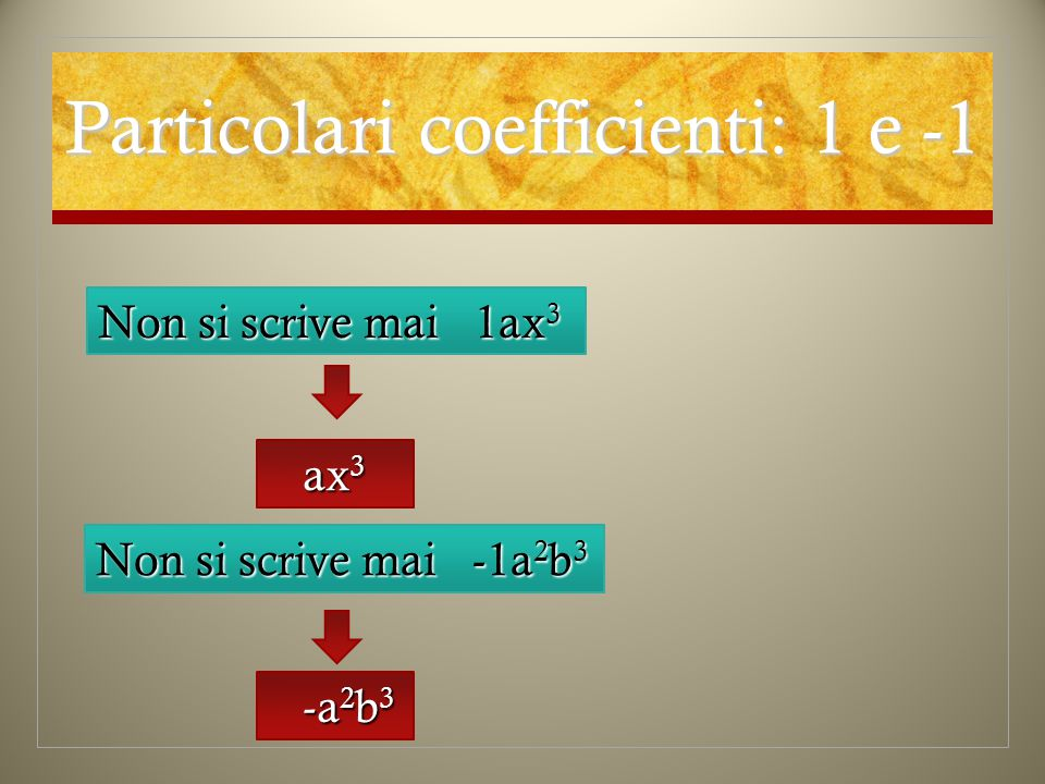 Particolari coefficienti: 1 e -1