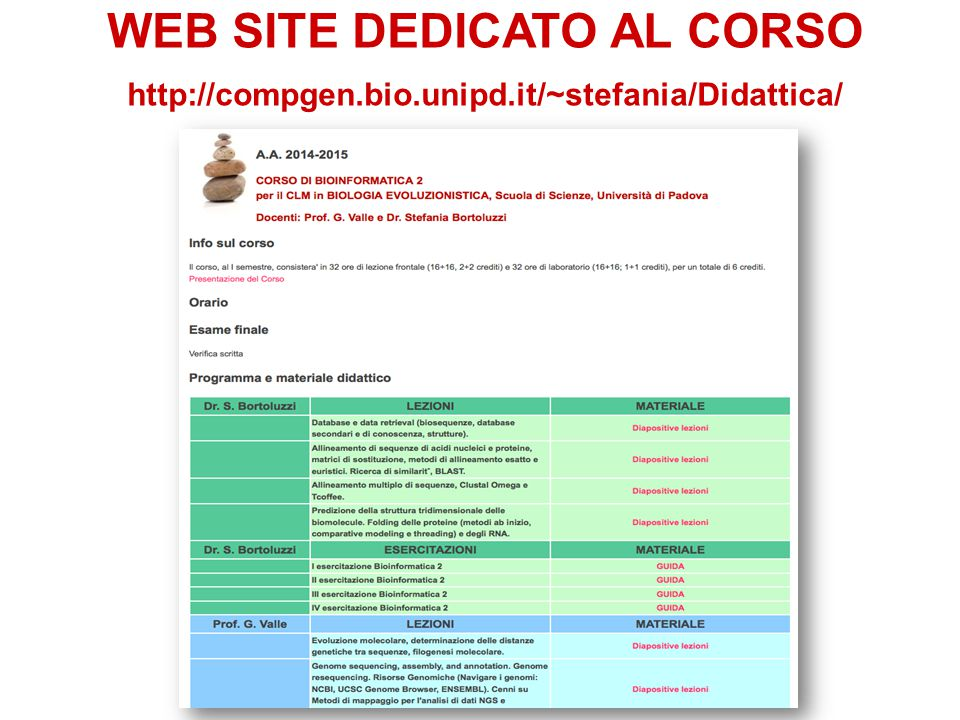WEB SITE DEDICATO AL CORSO