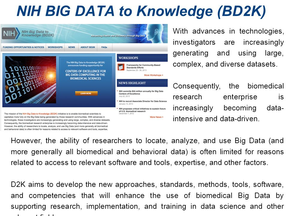 NIH BIG DATA to Knowledge (BD2K)