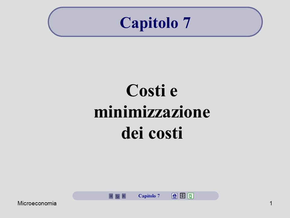 Costi e minimizzazione dei costi