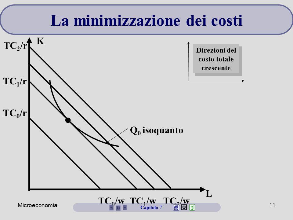 La minimizzazione dei costi Direzioni del costo totale crescente