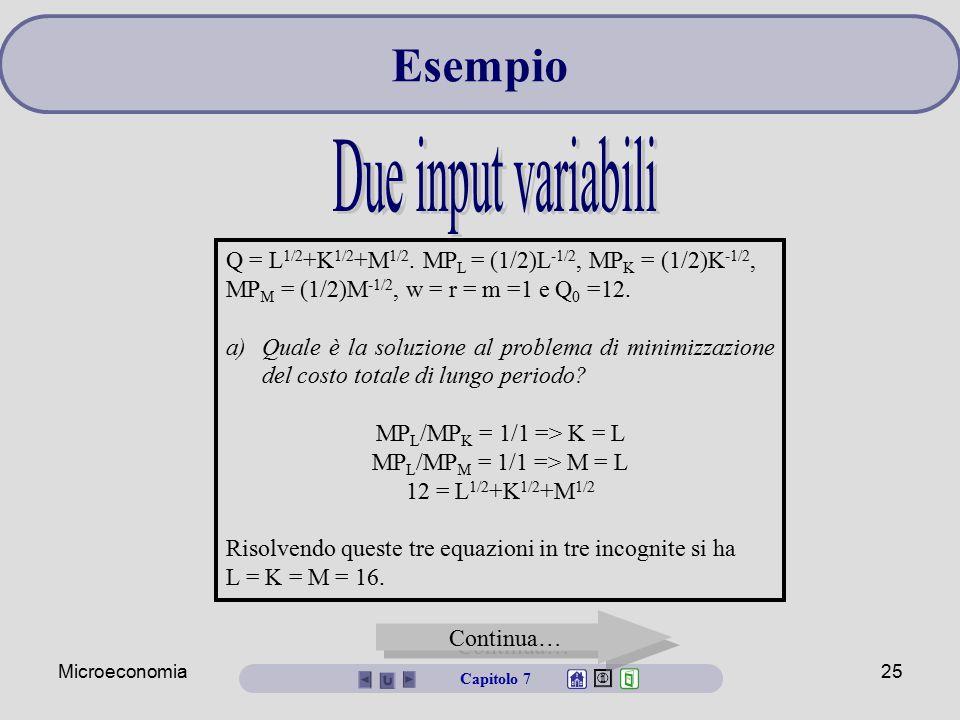 Esempio Due input variabili