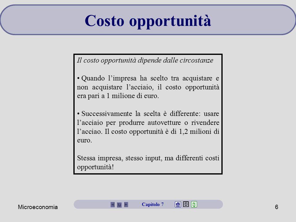 Costo opportunità Il costo opportunità dipende dalle circostanze