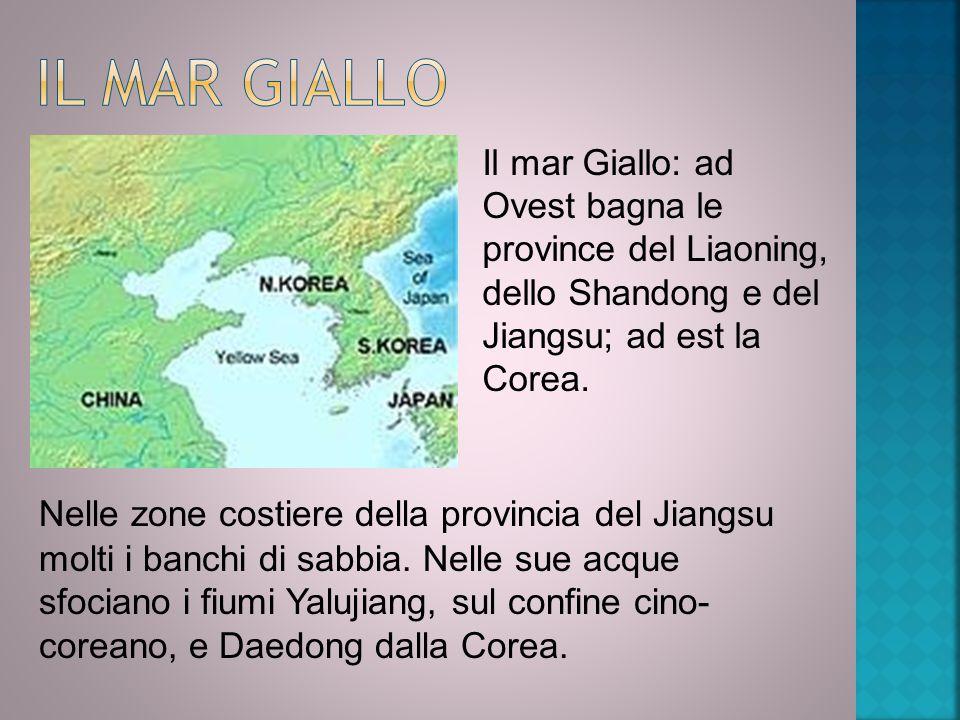Il mar Giallo Il mar Giallo: ad Ovest bagna le province del Liaoning, dello Shandong e del Jiangsu; ad est la Corea.