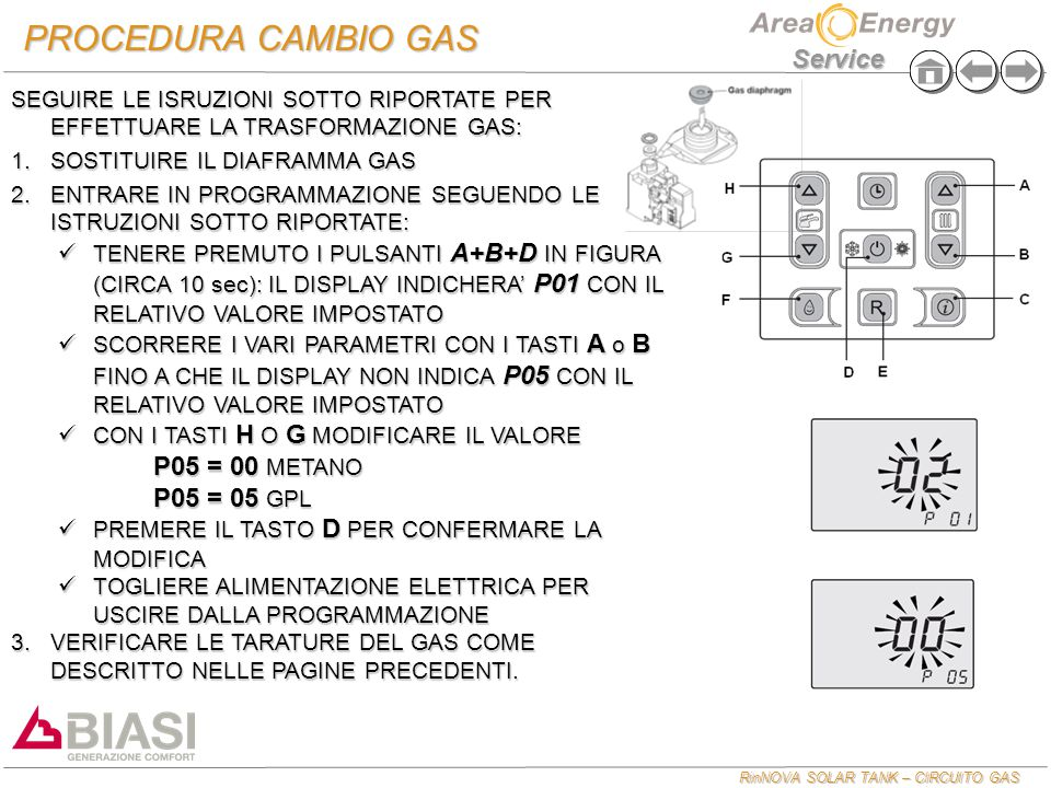 PROCEDURA CAMBIO GAS P05 = 00 METANO P05 = 05 GPL