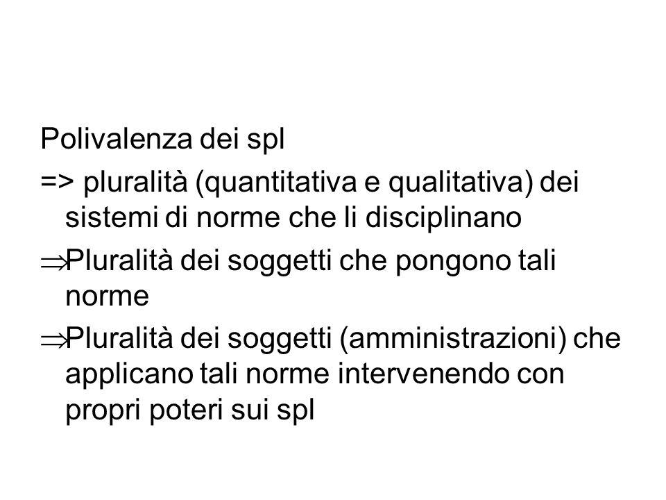 Polivalenza dei spl => pluralità (quantitativa e qualitativa) dei sistemi di norme che li disciplinano.