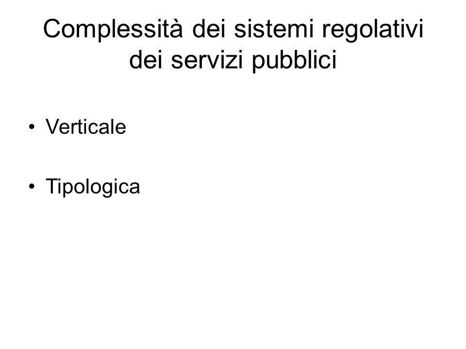 Complessità dei sistemi regolativi dei servizi pubblici
