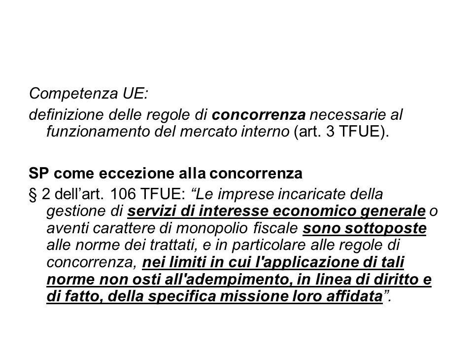 Competenza UE: definizione delle regole di concorrenza necessarie al funzionamento del mercato interno (art. 3 TFUE).