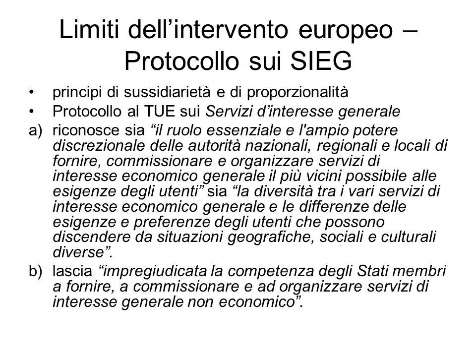 Limiti dell'intervento europeo – Protocollo sui SIEG