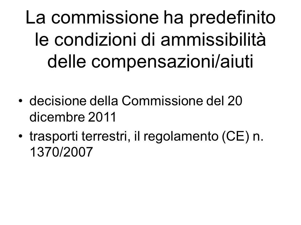 La commissione ha predefinito le condizioni di ammissibilità delle compensazioni/aiuti