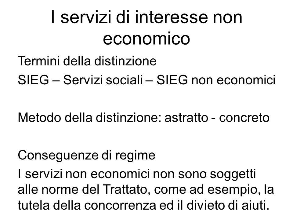 I servizi di interesse non economico