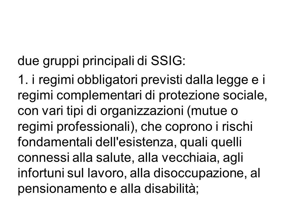 due gruppi principali di SSIG: 1