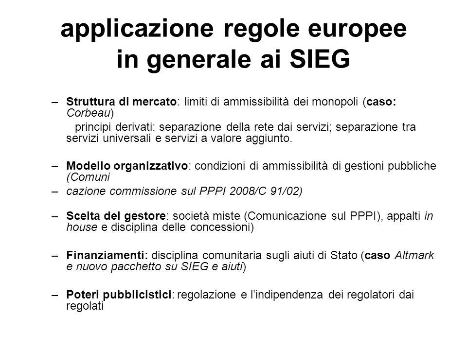 applicazione regole europee in generale ai SIEG