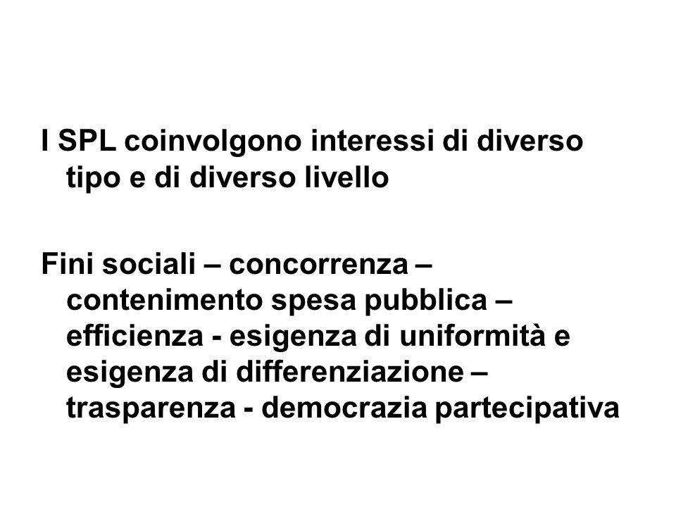 I SPL coinvolgono interessi di diverso tipo e di diverso livello