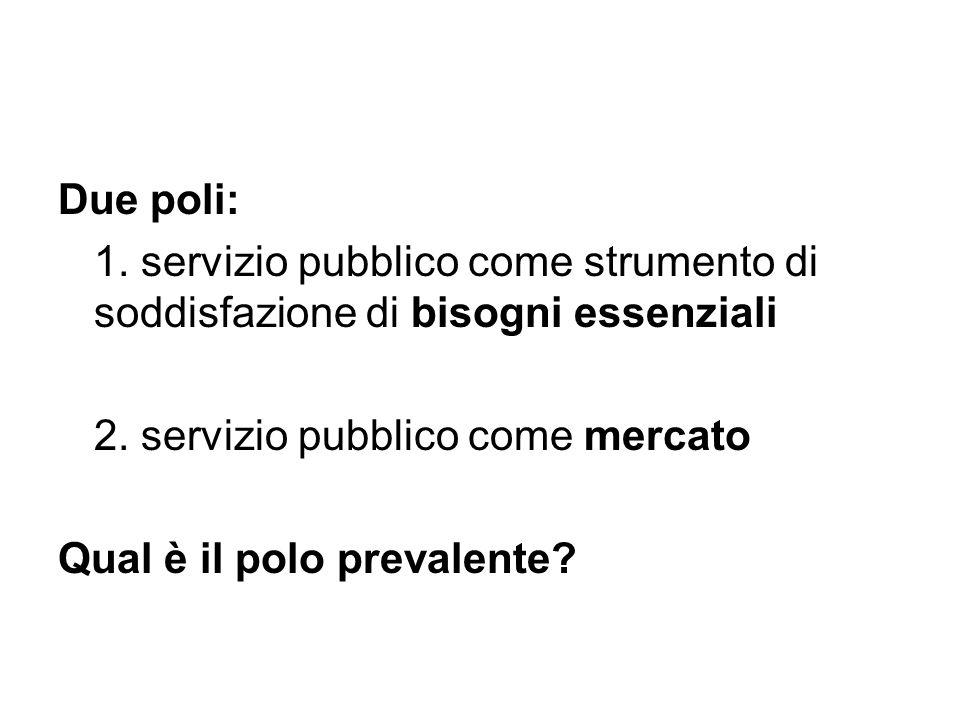 Due poli: 1. servizio pubblico come strumento di soddisfazione di bisogni essenziali. 2. servizio pubblico come mercato.