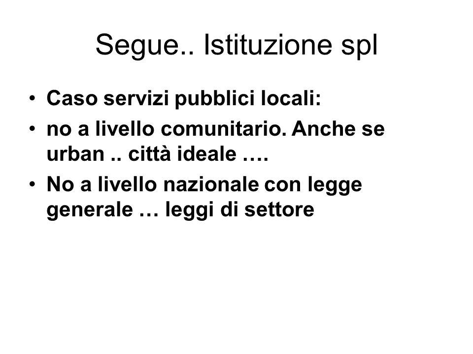 Segue.. Istituzione spl Caso servizi pubblici locali: