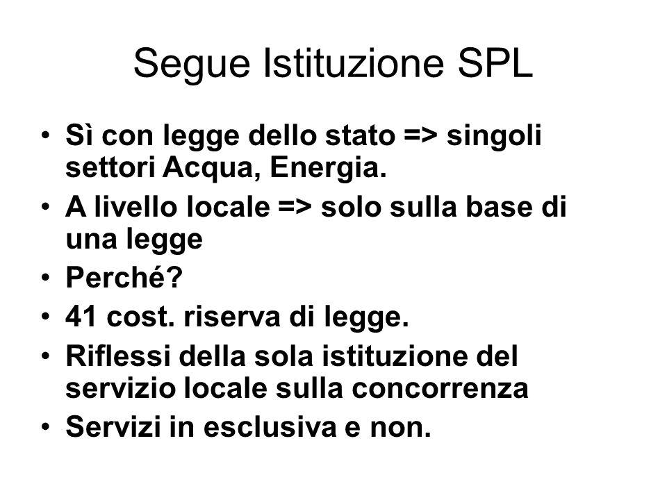 Segue Istituzione SPL Sì con legge dello stato => singoli settori Acqua, Energia. A livello locale => solo sulla base di una legge.