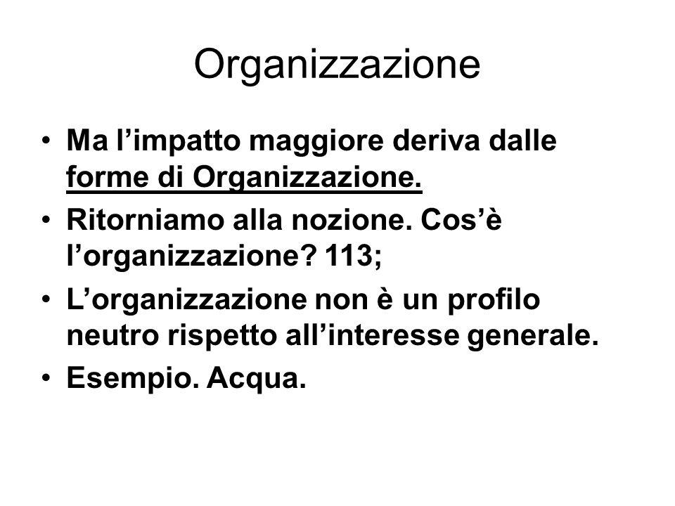 Organizzazione Ma l'impatto maggiore deriva dalle forme di Organizzazione. Ritorniamo alla nozione. Cos'è l'organizzazione 113;