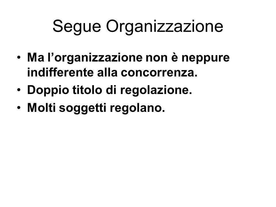Segue Organizzazione Ma l'organizzazione non è neppure indifferente alla concorrenza. Doppio titolo di regolazione.