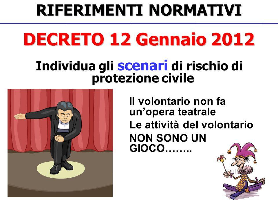DECRETO 12 Gennaio 2012 RIFERIMENTI NORMATIVI