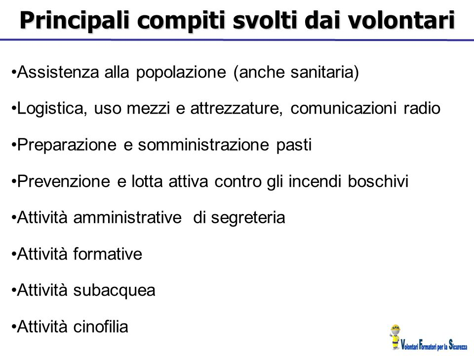 Principali compiti svolti dai volontari