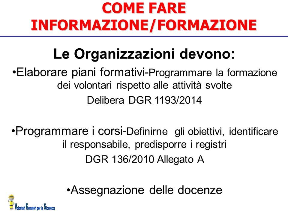 COME FARE INFORMAZIONE/FORMAZIONE Le Organizzazioni devono: