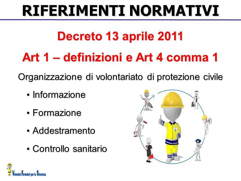 RIFERIMENTI NORMATIVI Art 1 – definizioni e Art 4 comma 1