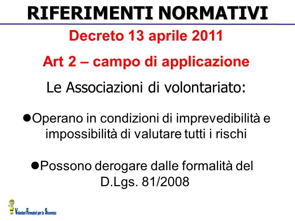 RIFERIMENTI NORMATIVI Art 2 – campo di applicazione