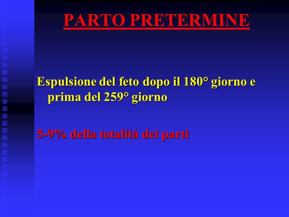PARTO PRETERMINE Espulsione del feto dopo il 180° giorno e prima del 259° giorno.