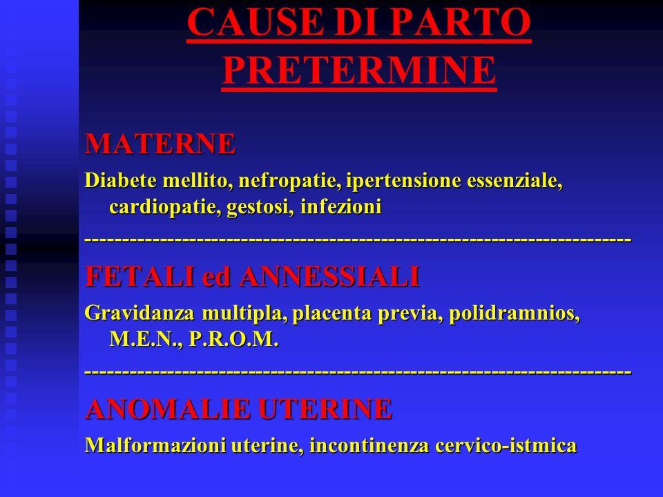 CAUSE DI PARTO PRETERMINE