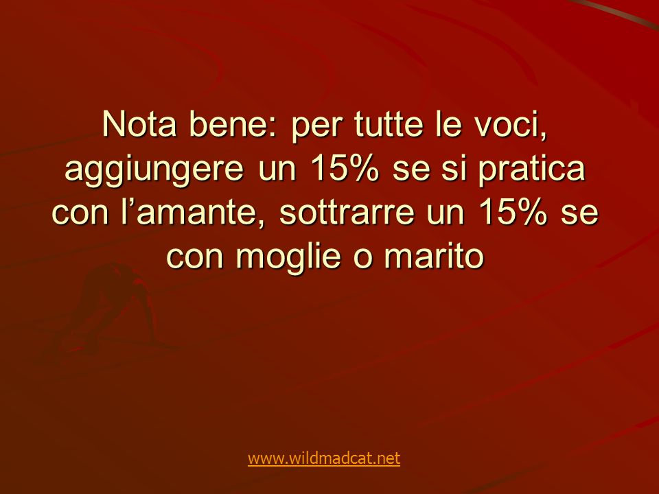Nota bene: per tutte le voci, aggiungere un 15% se si pratica con l'amante, sottrarre un 15% se con moglie o marito