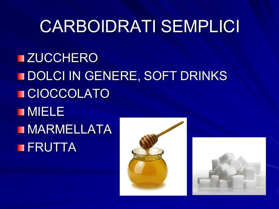 CARBOIDRATI SEMPLICI ZUCCHERO DOLCI IN GENERE, SOFT DRINKS CIOCCOLATO