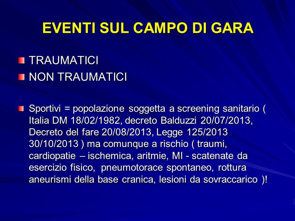 EVENTI SUL CAMPO DI GARA