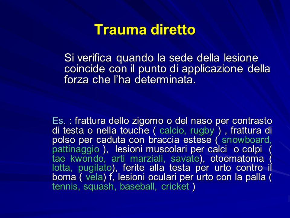 Trauma diretto Si verifica quando la sede della lesione coincide con il punto di applicazione della forza che l'ha determinata.